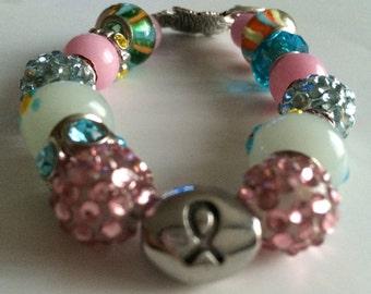Colorful Breast Cancer Bracelet