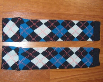 Black and Blues Argyle Leg Warmers