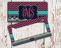 Personalized gift, Monogram license plate or frame, Tribal pattern dark pinks aqua, Aztec car tag, Pinterest favorite, Bicycle plate (1273)