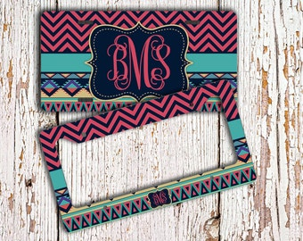Personalized gift, Monogram license plate or frame, Tribal pattern dark pinks aqua, Aztec car tag, Pinterest favorite, Bicycle plate  (1273)