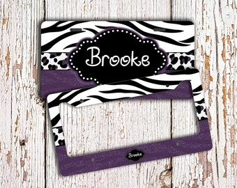 Personalized monogrammed license plate frame , Purple Zebra monogram car tag , Custom license plate , Monogram bicycle plate bike (1000)