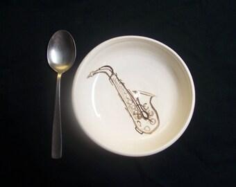 saxophone cereal bowl