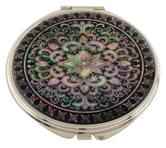 Mother Of Pearl Makeup Mirror Arabesque Design Cosmetic