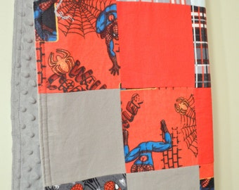 Spiderman Patchwork Minky Blanket/Quilt  Larger Size *Ready to Ship*