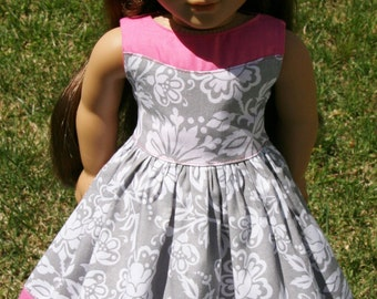 "Gorgeous Grey Damask Two Toned Dress for 18"" Dolls **ON SALE**"