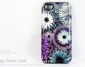 Floral iPhone 5 5s TOUGH Case - Green, Purple and White Floral iPhone 5 5s Cover - Tidal Bloom - by da Vinci Case