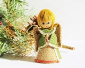 Mid Century Kitsch Burlap Angel Figurine / 1970s Hippie Retro Groovy Mod Christmas Decoration