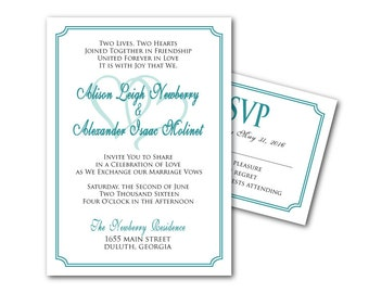 PRINTable Wedding Invitation Template and RSVP Card - PRINTable File - DIY invites - Two Lives, Two Hearts