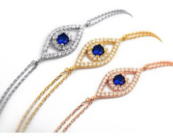 Evil Eye Sapphire Bracelet-Yellow Gold