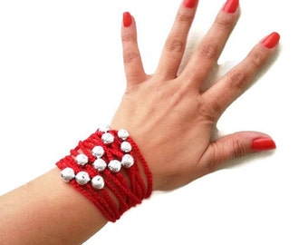 Red Hand-crochet Rope Bracelet with silvery beads, beach,boho, lolita,wristband,wriststrap