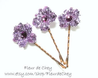 Three Glittered Curly Blossom Hair Bobby Pins with Crystal Center- Handmade Floral Headpiece
