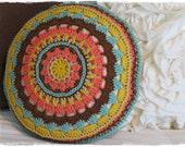 Mandala Throw Pillow-Crochet-Accent Pillow-Round Circle Pillow-Colorful-Home Decor