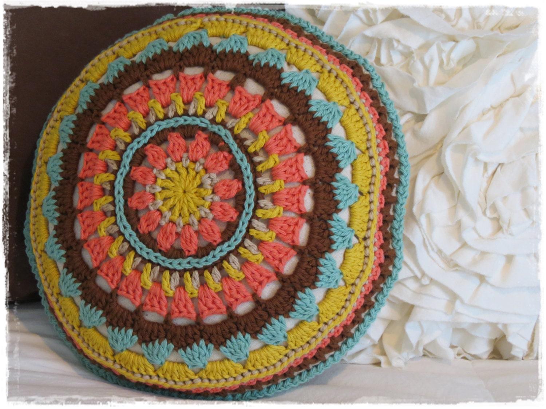 mandala throw pillow crochet accent pillow round circle. Black Bedroom Furniture Sets. Home Design Ideas
