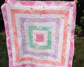 Handmade Reversible Patchwork Spring Child Quilt, Pink, Lavender, Mint, Coral