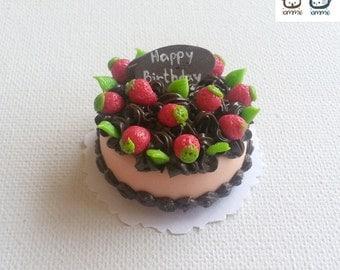 Polymer Clay Cake, miniature cake, food figurine, birthday, miniature clay sweet, miniature clay cake, mini, dessert, dollhouse, tiny, rose