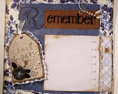 Remember This Day Premade Scrapbook 12x12 Vintage Blue Roses and Denim and Pearls