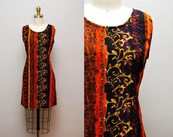 90s Exotic Print Mini Shift Dress / Vivid & Colorful Sleeveless Tank Dress / Size Medium