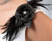 FREE SHIPPING Black Rose & Feather  Accented Hair Clip, Wedding Decoration,  Black Flower and Feather Clip/Pin