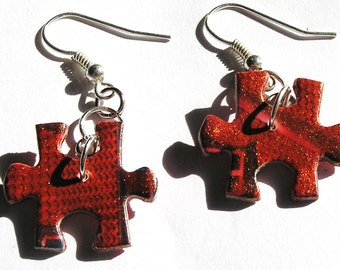 Red & Gold Glittery Puzzle Piece Earrings