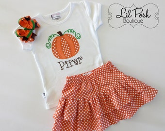 Size 7 READY to SHIP Thanksgiving Sequin Pumpkin Outfit, Girls Fall Pumpkin Outfit, girls Thanksgiving set
