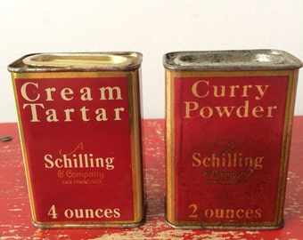 Vintage Schilling Spice Cannisters Cream Tarter and Curry Powder
