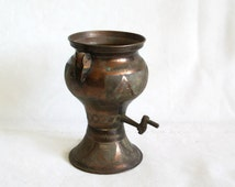 Etched vintage copper mini SAMOVAR water boiler base DECORATIVE liquor DISPENSER drink fountain Brass Tap. Little cactus planter pot holder