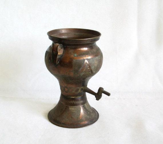 Etched vintage copper mini samovar water boiler base for Copper water boiler