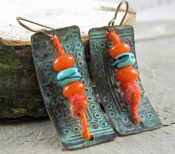 orange and turquoise earrings handmade by Linda Landig