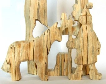 Knight and horse, handcarved wooden puzzle,