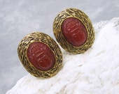 Large Sterling Cufflinks Carnelian Scarab Cuff Links Vintage Mens Jewelry H646