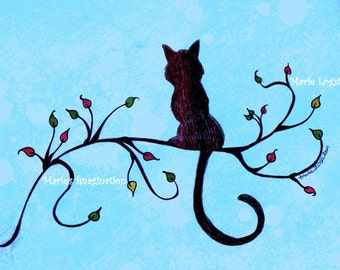 Black Cat/Aspen Branch (Light Blue Bkgd) Greeting Cards - Note Cards. Includes White Envelopes. Blank Inside.