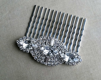 Art deco comb, silver hair comb, silver Art Deco hair accessories Bridal headpiece bridal comb crystal rhinestone SILVER NAVETTE MED