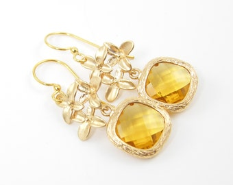 Amber Drop Earrings, Yellow Gold Flower Earrings with Amber Stone Dangle Dainty Jewelry |AM1-11