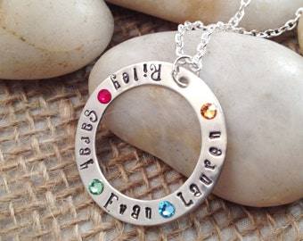 Hand-Stamped Mom Necklace with Names and Flat Birthstones, Mommy Necklace, Mother's Day Gift, Birthstone Necklace, Mom Jewelry, Gift for Mom