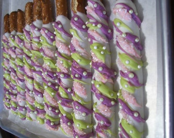 Pretzel Rods Chocolate Covered Pretzel Rod Pink Gray or Purple Green with Pearls Birthday Party Wedding Favors 1 dozen