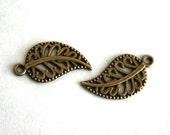 10 Lovely Antique Bronze Filigree Leaf Charms/Pendants