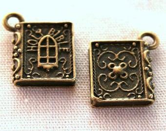 4 Antique Bronze Holy Bible Book Charms/Pendants