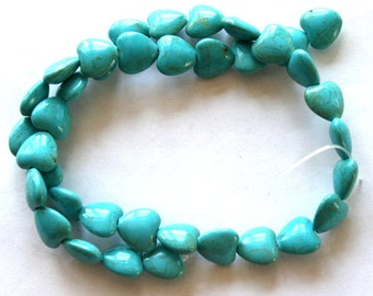 Full Strand Blue Turquoise Magnesite Puffed Heart Beads