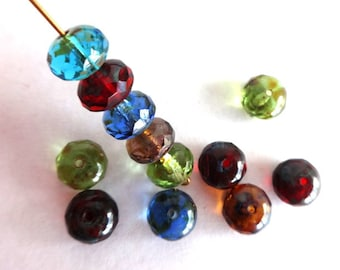 10 mm Mixed Color Doughnut Czech Picasso Faceted Glass Beads
