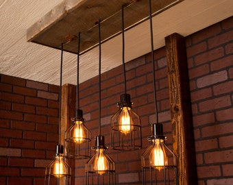 Lighting/ Industrial lighting, Industrial Chandelier, Black With Reclaimed Wood and 5 Pendants. R-1434-BC-5