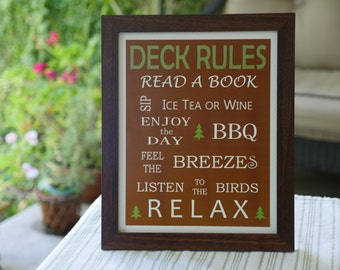 Deck Rules Framed Sign