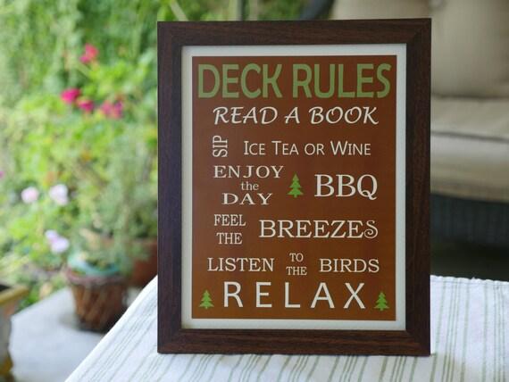 Deck Rules Framed Sign