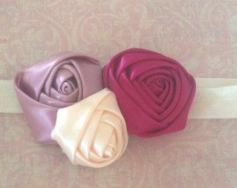 Satin Rose Headband | Dusty Rose, Ivory, Burgundy Headband | Satin Rolled Rose Headband | Satin Headband | Rose Headband