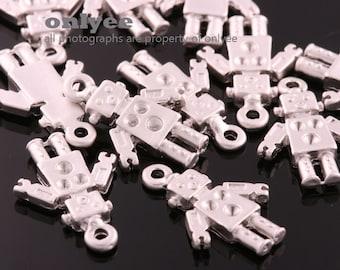 4pcs-19mm x13mm Matte Rhodium Brass Cute Block Robot for jewelry making,Connectors,Charms,Pendants (K3271S)