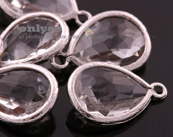6pcs-18mmX11mmRhodium plated Brass Faceted long teardrop glass pendants-Clear(M302S-M)
