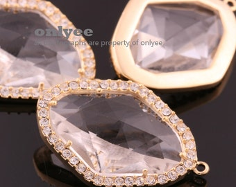 2pcs-28mmX20mmGold Faceted Large Glass With Around Cubic Zirconia-Clear(M328G-B)
