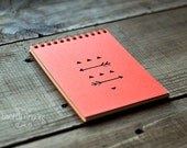 Orange notebook (Sketchbook) with a carved geometry native pattern (small size)