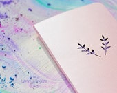 Rose pearl spring notebook-sketchbook with a carved pattern - Leaf  (small size)
