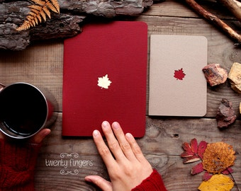 Forest notebook with a carved pattern - Maple-leaf - set of 2 notebook