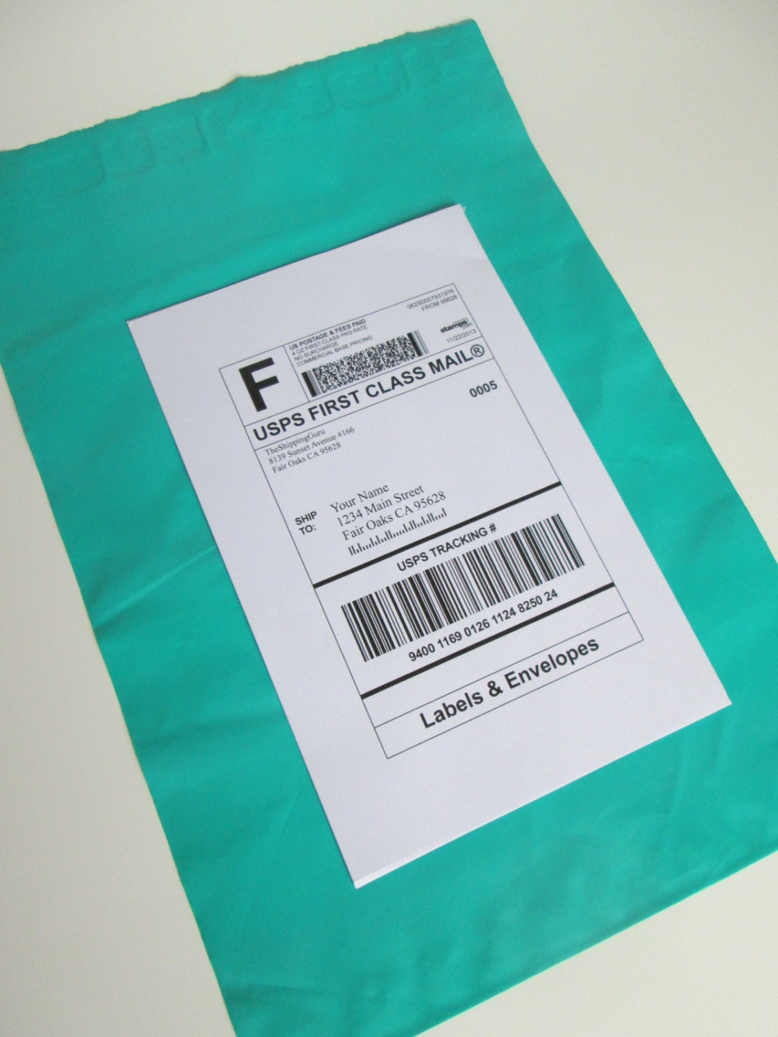 100 Labels & TEAL 9x12 Poly Mailer Envelopes In